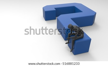 Black And Blue 3D Illustration Of A Mannequin Person Sitting And Thinking On A Giant Question Mark