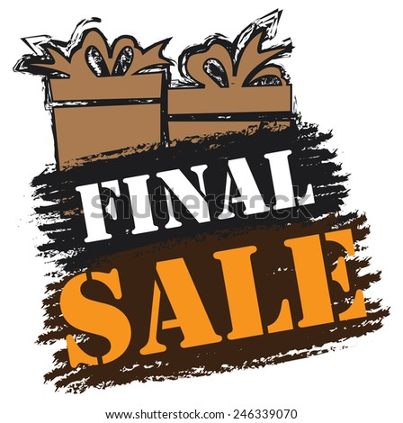 Black and Brown Final Sale Banner, Sticker, Icon or Label Isolated on White Background  - stock photo