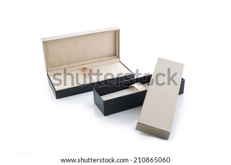 black and brown gift box open isolated on white background with Reflections - stock photo
