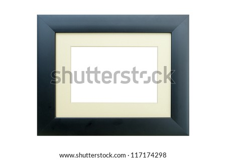 Black and cream wooden photo frame isolated on white background