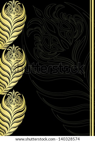 Black and gold floral vintage. - stock photo