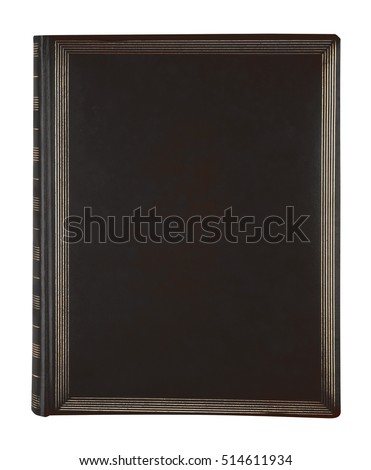 Black and gold  leather book cover isolated on white