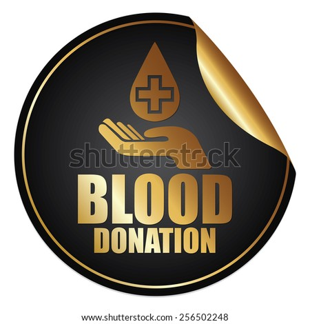 Black and Gold Metallic Blood Donation Sticker, Icon or Label Isolated on White Background  - stock photo