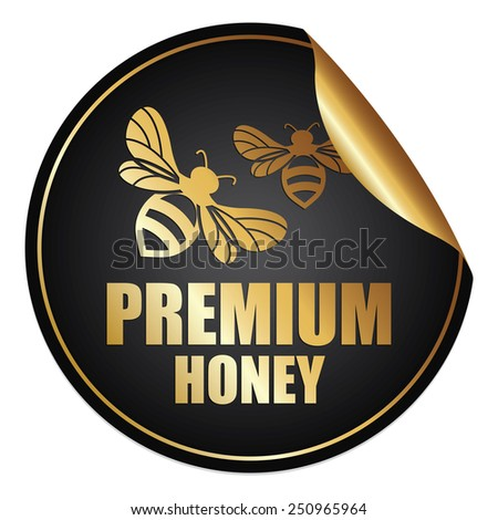 Black and Gold Metallic Premium Honey Sticker, Icon or Label Isolated on White Background  - stock photo