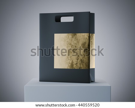 Black and gold shopping bag on white podium. 3d rendering - stock photo