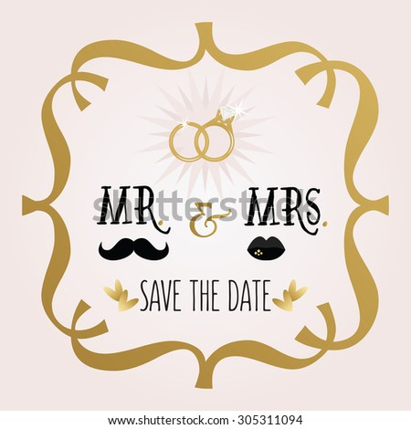 Black and golden abstract Mr. & Mrs. Save The Date wedding card with rings and frame emblem on pink gradient background - stock photo