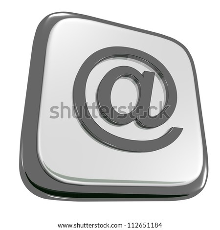 Black and gray icon with an at sign