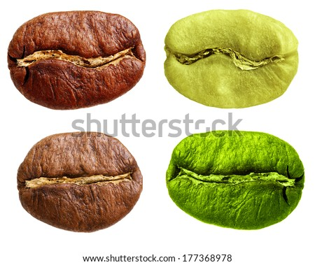 Black and green arabica, robusta coffee bean, grain isolated on white background. - stock photo