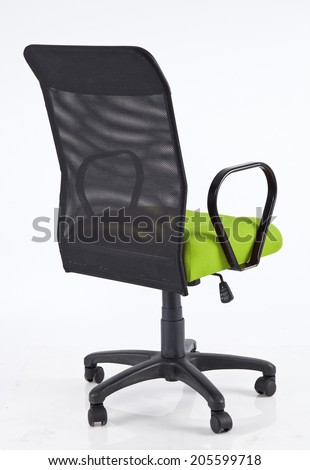 Black and green back office chair isolated on a white - stock photo