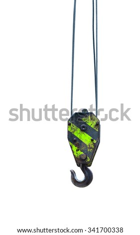 Black and green cranes hooks hanging on steel ropes isolated on white background - stock photo