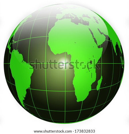 Black and Green Globe isolated on white background