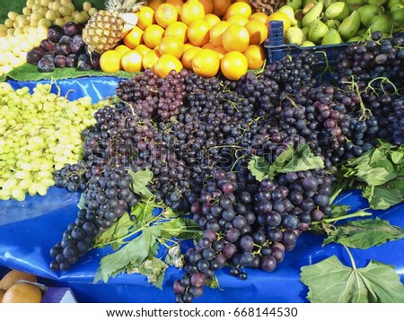 Black and Green Grapes with Other Fruits