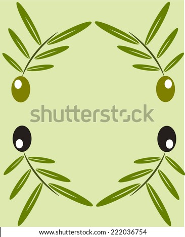 Black and green olive twigs frame illustration - stock photo