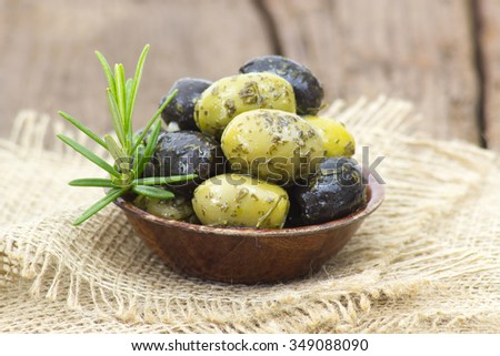 black and green olives - stock photo