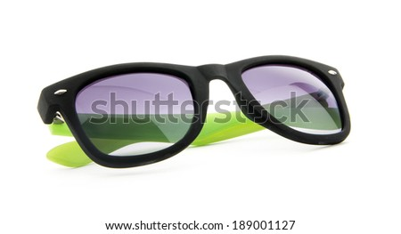 black and green sunglasses isolated on white background