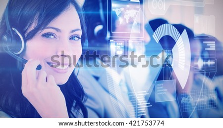 black and grey interface against smiling employee working with a headset while looking at the camera - stock photo