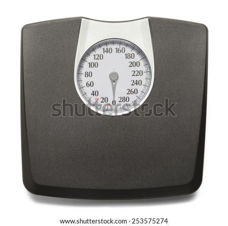 Black and Grey Weight Scale Isolated on White Background.
