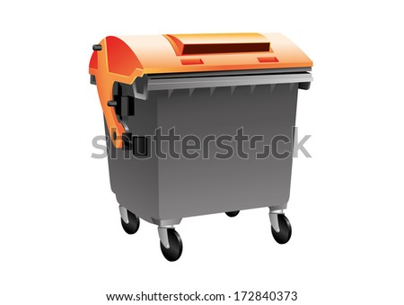 Black and orange container for cardboard isolated