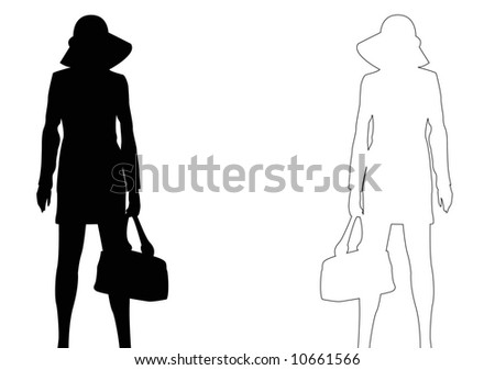 black and outline silhouettes of females standing