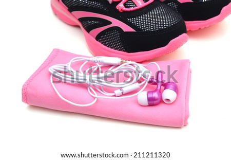 Black and pink sport shoes on white background  - stock photo