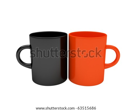 black and red coffee mugs - stock photo