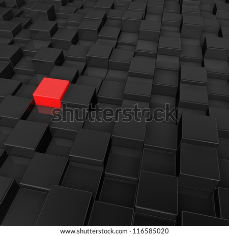 black and red cubes background - 3d illustration - stock photo