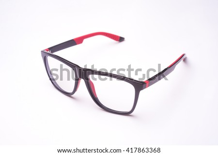 Black and Red Eye Glasses Isolated on White Background