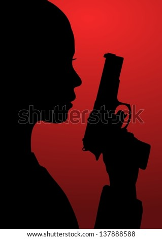 Black and red illustration of a girl with a gun