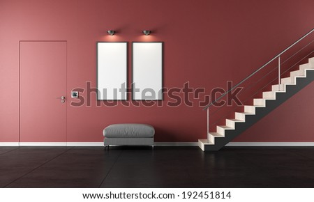 Black and red  living room with staircase and door - rendering - stock photo
