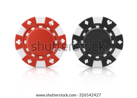 Black and red poker chips, isolated on a white background