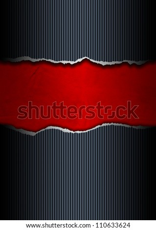 Black and Red Ripped Paper / Ripped paper background black and red with space for text - stock photo
