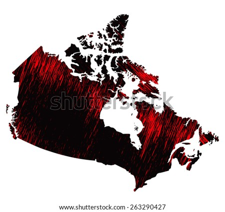 Black and red scribble stylized map of Canada.Raster version