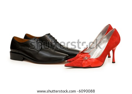 Black and red shoes isolated on white - more similar photos in my portfolio - stock photo