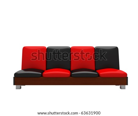 black and red sofa - stock photo