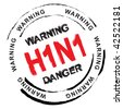 Black and red swine flu stamp with h1n1 text - stock photo