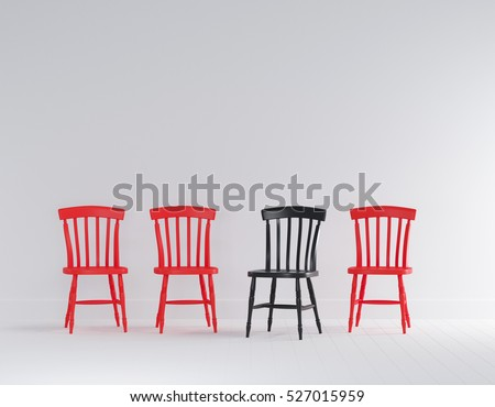 Black And Red Wood Chairs In White Wall Minimal Interior Room With White  Flooring.