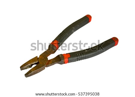 Black and rusted flat-nose pliers