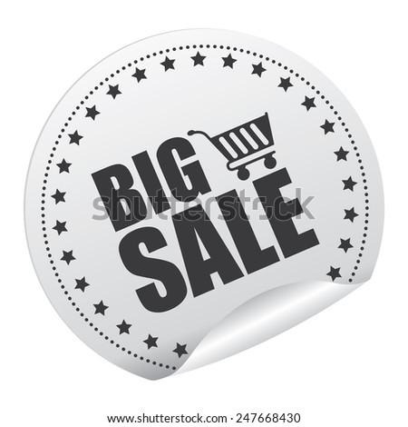 Black and Silver Big Sale Sticker, Icon, Badge, Sign or Label Isolated on White Background