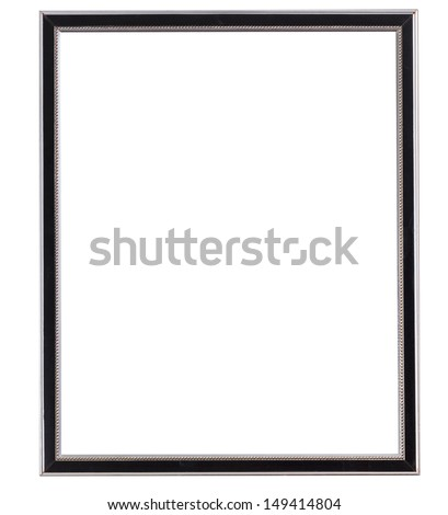 black and silver old narrow picture framepicture frame with cutout canvas isolated on white background - stock photo