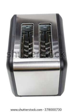 black and silver toaster isolated on white background - stock photo