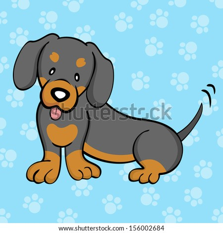 Black and Tan Dachshund - stock photo