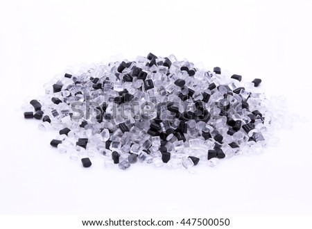 Black and transparent plastic polymer granules.