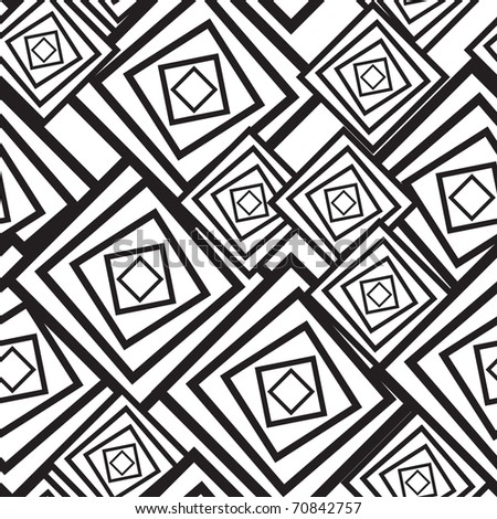 Black-and-white abstract background with squares. Seamless pattern. Raster illustration.