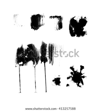 Black and white abstract hand painted watercolor stains, abstract watercolor elements - stock photo