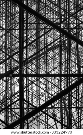 black and white abstract scaffolding. - stock photo