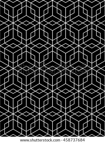 Black and white abstract textured geometric seamless pattern. contrast textile backdrop with cubes and squares. Graphic contemporary futuristic covering.