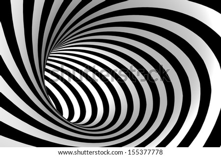Black and white abstract tonnel. - stock photo