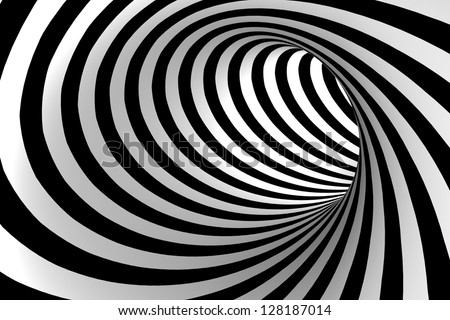 Black and white abstract tunnel. - stock photo