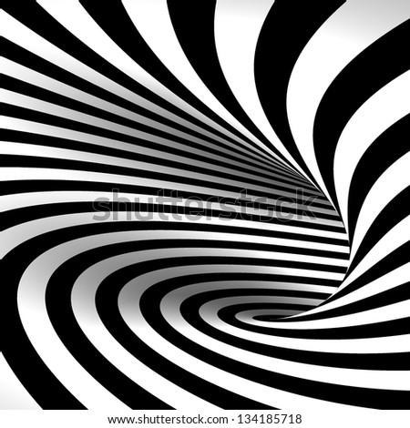 Black and white abstract tunnel - stock photo