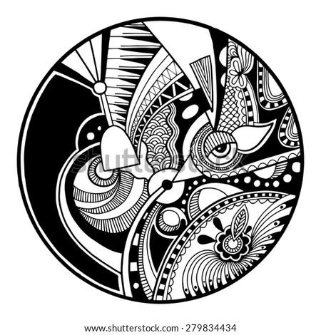 Black and white abstract zendala on circle, relax and meditation zentangle art, monochrome raster version illustration - stock photo